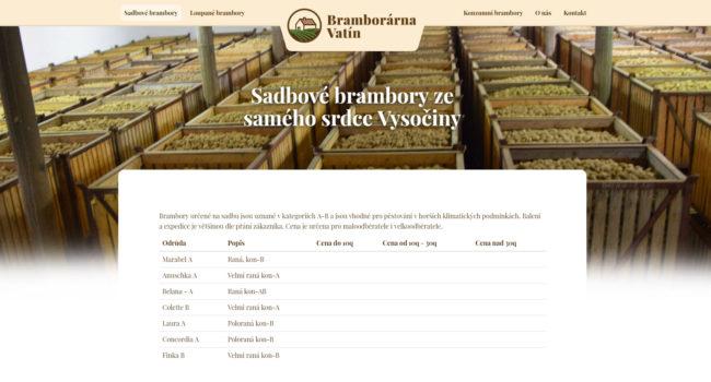 Fotografie reference - Webové stránky a logo pro bramborárnu Vatín