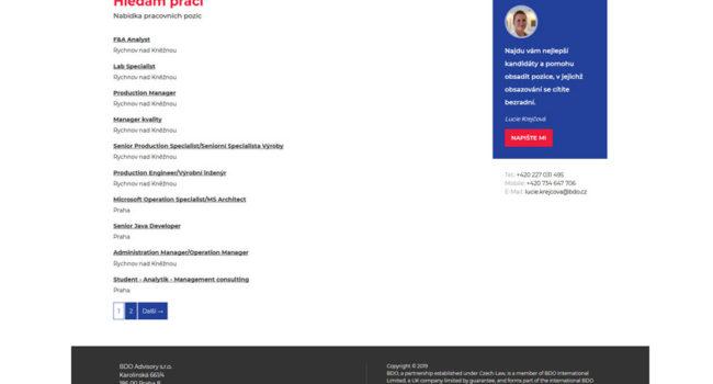 Fotografie reference - Tvorba webových stránek BDO Recruitment