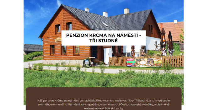 Fotografie reference - Realizace webových stránek – Penzion krčma na náměstí – Tři studně