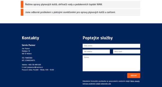Fotografie reference - Tvorba webových stránek – Servis Pazour